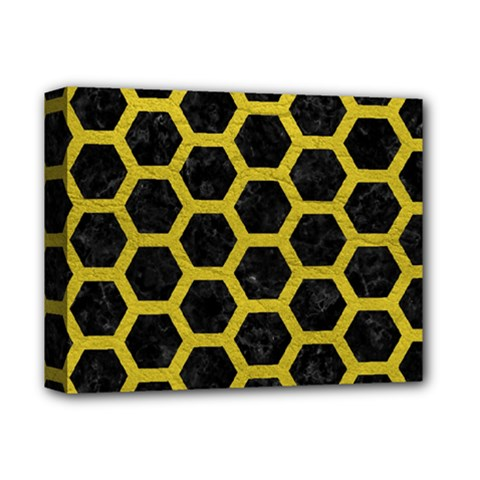 HEXAGON2 BLACK MARBLE & YELLOW LEATHER (R) Deluxe Canvas 14  x 11