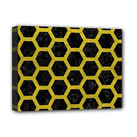 HEXAGON2 BLACK MARBLE & YELLOW LEATHER (R) Deluxe Canvas 16  x 12