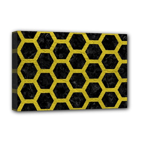 HEXAGON2 BLACK MARBLE & YELLOW LEATHER (R) Deluxe Canvas 18  x 12