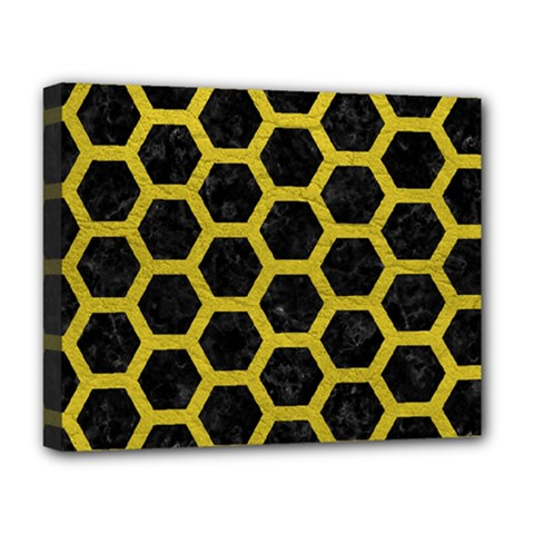HEXAGON2 BLACK MARBLE & YELLOW LEATHER (R) Deluxe Canvas 20  x 16