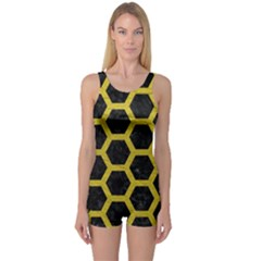 HEXAGON2 BLACK MARBLE & YELLOW LEATHER (R) One Piece Boyleg Swimsuit