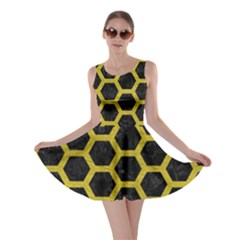 HEXAGON2 BLACK MARBLE & YELLOW LEATHER (R) Skater Dress