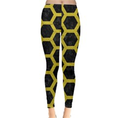 HEXAGON2 BLACK MARBLE & YELLOW LEATHER (R) Leggings