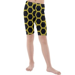 HEXAGON2 BLACK MARBLE & YELLOW LEATHER (R) Kids  Mid Length Swim Shorts