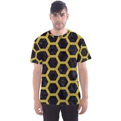 HEXAGON2 BLACK MARBLE & YELLOW LEATHER (R) Men s Sports Mesh Tee