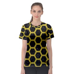 HEXAGON2 BLACK MARBLE & YELLOW LEATHER (R) Women s Sport Mesh Tee