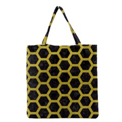 Hexagon2 Black Marble & Yellow Leather (r) Grocery Tote Bag by trendistuff