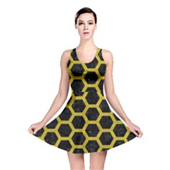 HEXAGON2 BLACK MARBLE & YELLOW LEATHER (R) Reversible Skater Dress