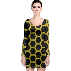 HEXAGON2 BLACK MARBLE & YELLOW LEATHER (R) Long Sleeve Bodycon Dress