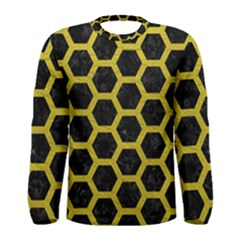 HEXAGON2 BLACK MARBLE & YELLOW LEATHER (R) Men s Long Sleeve Tee