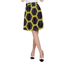 HEXAGON2 BLACK MARBLE & YELLOW LEATHER (R) A-Line Skirt