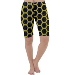 HEXAGON2 BLACK MARBLE & YELLOW LEATHER (R) Cropped Leggings