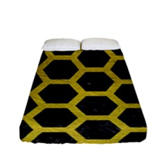 HEXAGON2 BLACK MARBLE & YELLOW LEATHER (R) Fitted Sheet (Full/ Double Size)