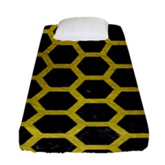 HEXAGON2 BLACK MARBLE & YELLOW LEATHER (R) Fitted Sheet (Single Size)