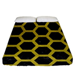HEXAGON2 BLACK MARBLE & YELLOW LEATHER (R) Fitted Sheet (Queen Size)