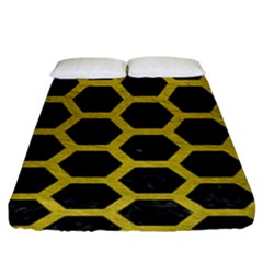 HEXAGON2 BLACK MARBLE & YELLOW LEATHER (R) Fitted Sheet (King Size)