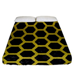 HEXAGON2 BLACK MARBLE & YELLOW LEATHER (R) Fitted Sheet (California King Size)