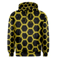 HEXAGON2 BLACK MARBLE & YELLOW LEATHER (R) Men s Pullover Hoodie