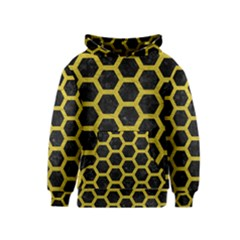 HEXAGON2 BLACK MARBLE & YELLOW LEATHER (R) Kids  Pullover Hoodie