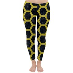 HEXAGON2 BLACK MARBLE & YELLOW LEATHER (R) Classic Winter Leggings