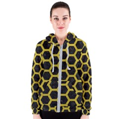 HEXAGON2 BLACK MARBLE & YELLOW LEATHER (R) Women s Zipper Hoodie