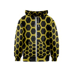 HEXAGON2 BLACK MARBLE & YELLOW LEATHER (R) Kids  Zipper Hoodie