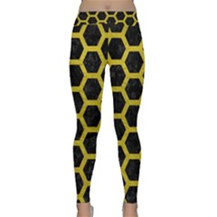 HEXAGON2 BLACK MARBLE & YELLOW LEATHER (R) Classic Yoga Leggings