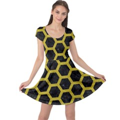 HEXAGON2 BLACK MARBLE & YELLOW LEATHER (R) Cap Sleeve Dress