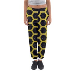HEXAGON2 BLACK MARBLE & YELLOW LEATHER (R) Women s Jogger Sweatpants