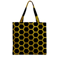 HEXAGON2 BLACK MARBLE & YELLOW LEATHER (R) Zipper Grocery Tote Bag
