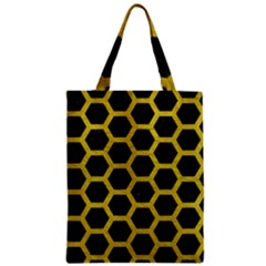 HEXAGON2 BLACK MARBLE & YELLOW LEATHER (R) Zipper Classic Tote Bag