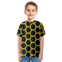 HEXAGON2 BLACK MARBLE & YELLOW LEATHER (R) Kids  Sport Mesh Tee