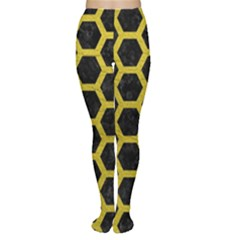HEXAGON2 BLACK MARBLE & YELLOW LEATHER (R) Women s Tights