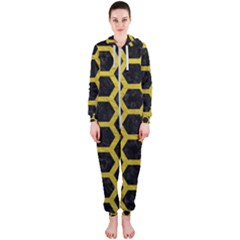 HEXAGON2 BLACK MARBLE & YELLOW LEATHER (R) Hooded Jumpsuit (Ladies)