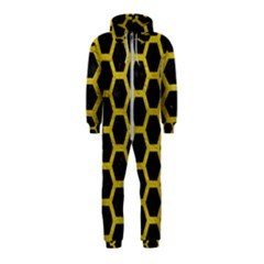 HEXAGON2 BLACK MARBLE & YELLOW LEATHER (R) Hooded Jumpsuit (Kids)