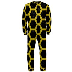 HEXAGON2 BLACK MARBLE & YELLOW LEATHER (R) OnePiece Jumpsuit (Men)