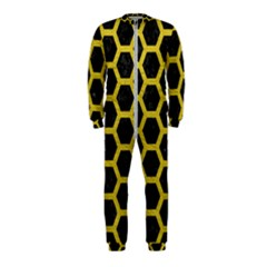 HEXAGON2 BLACK MARBLE & YELLOW LEATHER (R) OnePiece Jumpsuit (Kids)
