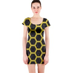HEXAGON2 BLACK MARBLE & YELLOW LEATHER (R) Short Sleeve Bodycon Dress