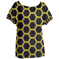 HEXAGON2 BLACK MARBLE & YELLOW LEATHER (R) Women s Oversized Tee