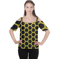 HEXAGON2 BLACK MARBLE & YELLOW LEATHER (R) Cutout Shoulder Tee
