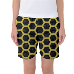 HEXAGON2 BLACK MARBLE & YELLOW LEATHER (R) Women s Basketball Shorts