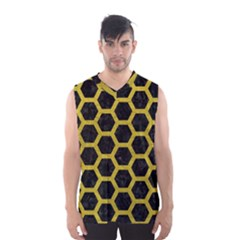HEXAGON2 BLACK MARBLE & YELLOW LEATHER (R) Men s Basketball Tank Top