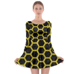HEXAGON2 BLACK MARBLE & YELLOW LEATHER (R) Long Sleeve Skater Dress