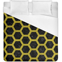 HEXAGON2 BLACK MARBLE & YELLOW LEATHER (R) Duvet Cover (King Size)