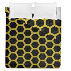 HEXAGON2 BLACK MARBLE & YELLOW LEATHER (R) Duvet Cover Double Side (Queen Size)