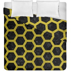 HEXAGON2 BLACK MARBLE & YELLOW LEATHER (R) Duvet Cover Double Side (King Size)