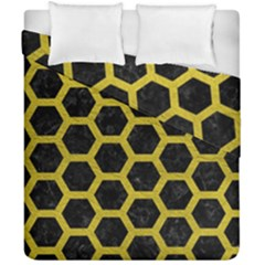 HEXAGON2 BLACK MARBLE & YELLOW LEATHER (R) Duvet Cover Double Side (California King Size)