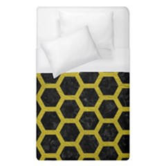 HEXAGON2 BLACK MARBLE & YELLOW LEATHER (R) Duvet Cover (Single Size)