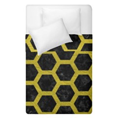 HEXAGON2 BLACK MARBLE & YELLOW LEATHER (R) Duvet Cover Double Side (Single Size)