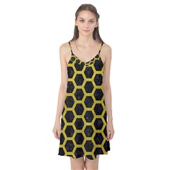 HEXAGON2 BLACK MARBLE & YELLOW LEATHER (R) Camis Nightgown